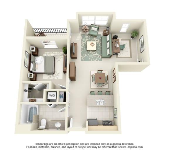 Floor Plan  1 Bed 1 Bath 1x1 Floor Plan at Domaine at Villebois Apartment Homes, Oregon, 97070