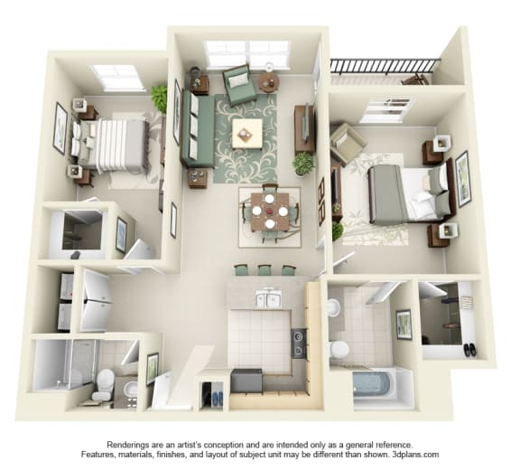 2 Bed 2 Bath 2x2 Floor Plan 1053 sq ft at Domaine at Villebois , Wilsonville