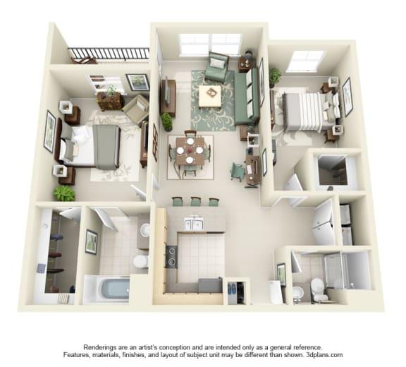 Floor Plan  2 Bed 2 Bath 2x2 Floor Plan at Domaine at Villebois Apartment Homes, Oregon