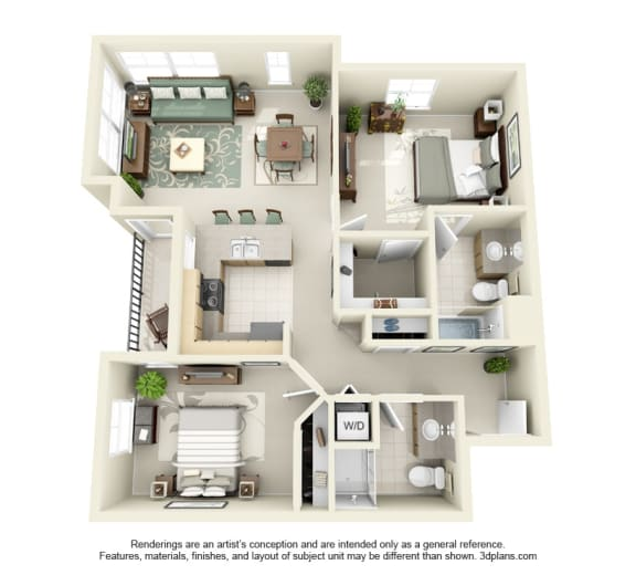 Floor Plan  2 Bed 2 Bath 2x2 Floor Plan 992 sq ft at Domaine at Villebois , Wilsonville, Oregon