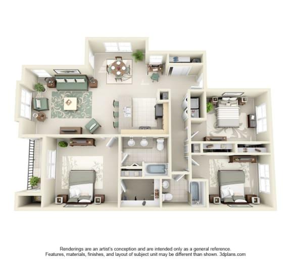 Floor Plan  3 Bed 2 Bath 3x2 Floor Plan at Domaine at Villebois Apartment Homes, Oregon, 97070