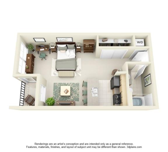 Floor Plan  STUDIO Floor Plan at Domaine at Villebois Apartment Homes, Wilsonville, 97070
