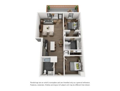 Floor Plan  Couch9 Apartments 2 Bed A Floor Plan