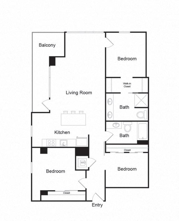 Floor Plan  Couch9FP_B_3b2b_1305sf
