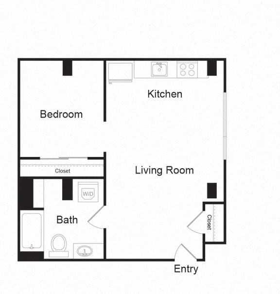 Floor Plan  Couch9 Apartments 621 sqft Floor Plan