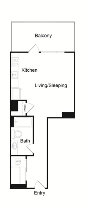 Floor Plan  Couch9 Apartments Studio C Floor Plan