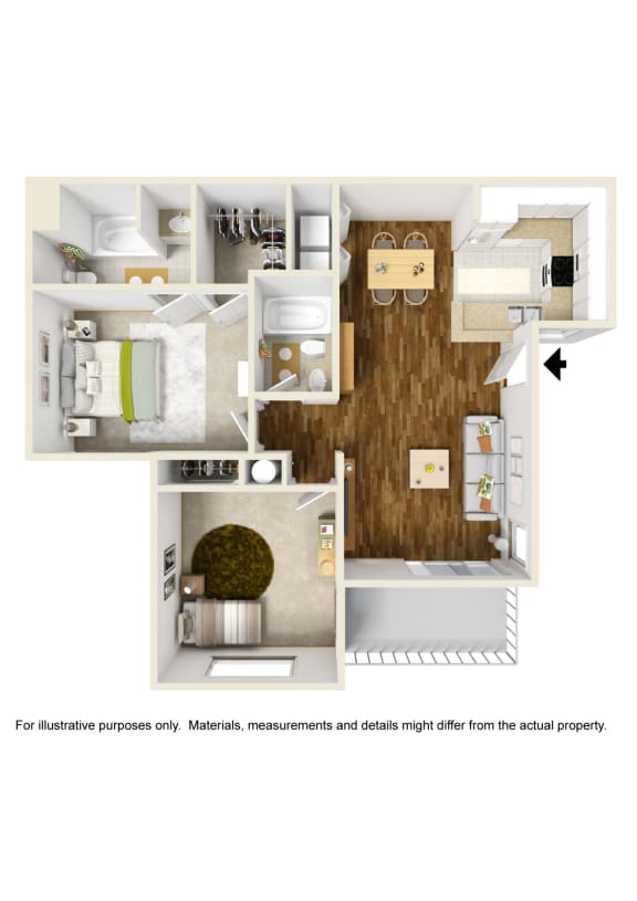 2 Bed 2 Bath 2x2 A Floor Plan at Atwood Apartments, California