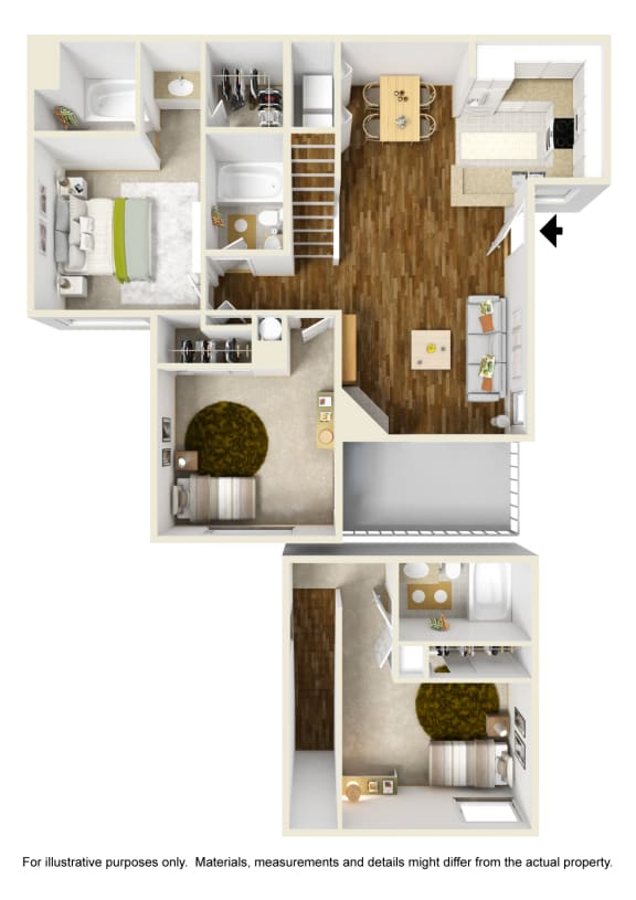 3 Bed 3 Bath 3x3 Floor Plan at Atwood Apartments, Citrus Heights, CA, 95610