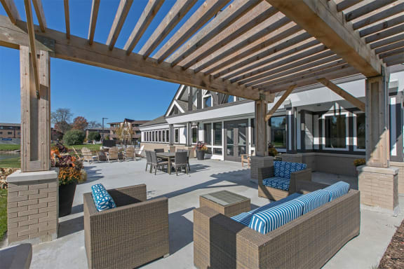 Shaded Lounge Area by Pool at Westmont Village, Westmont, Illinois
