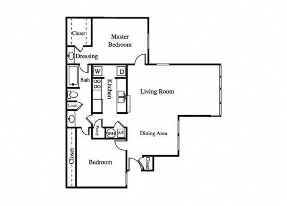 the jade two bedroom floorplan with large living room