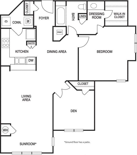Floor Plan  1 Bedroom 1 Bath Renovated