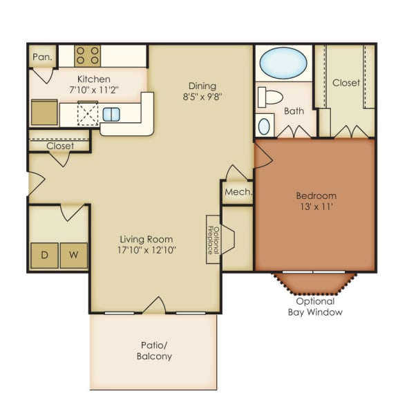 Floor Plan  Ashford 1 Bedroom 1 Bath Floorplan at Crestmark Apartment Homes, Lithia Springs, GA