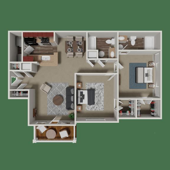 Bellmont 2 Bedroom 2 Bath Floorplan at Crestmark Apartment Homes, Lithia Springs, Georgia