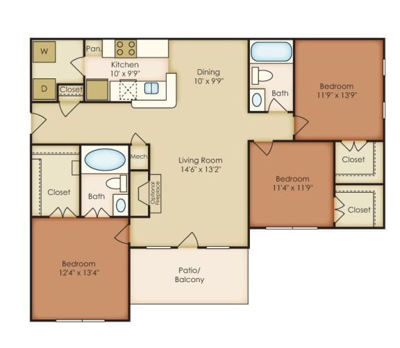 Carlisle 3 Bedroom 2 Bath Floorplan at Crestmark Apartment Homes, Lithia Springs, GA, 30122