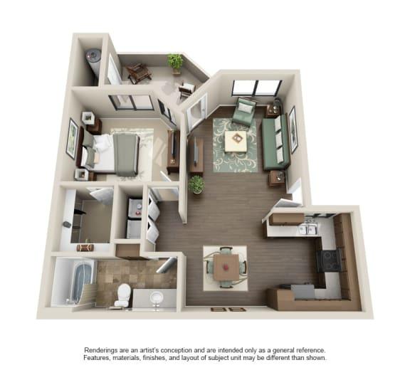 1x1 Floor Plan at Sonoran Apartment Homes, Phoenix, AZ, 85044