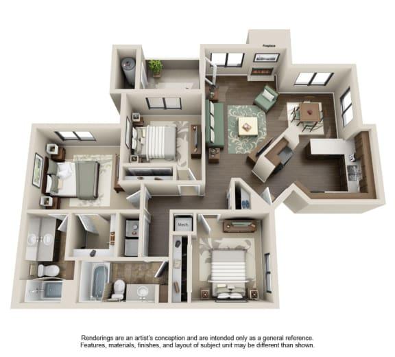 3A-3x2 Floor Plan at Sonoran Apartment Homes, Phoenix, AZ, 85044