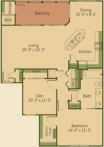 1BD Floor Plan at Muir Lake, Texas, 78613