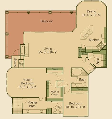 2C Floor Plan at Muir Lake, Texas