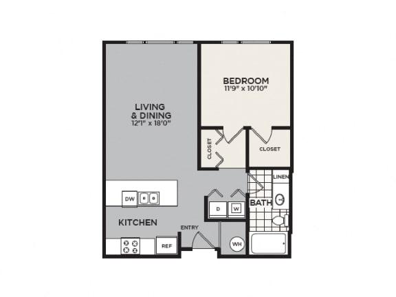 Floor Plan  1A Floor Plan - 1 BR 1 BA Apartment - 2828 Zuni - LoHi