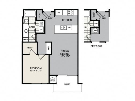 Floor Plan  1 BEDROOM/1 BATH - A4
