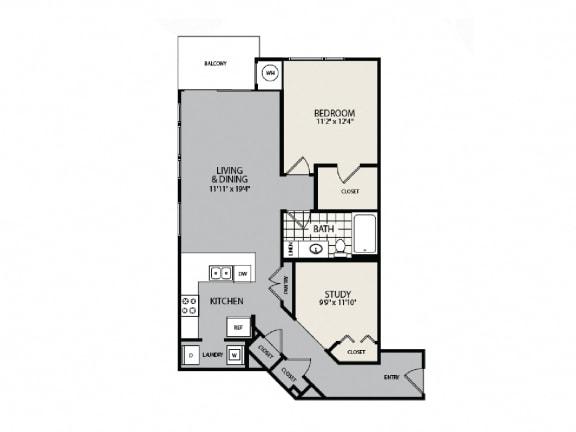 Floor Plan  A7 Floor Plan - 1 BR 1 BA Apartment - 2828 Zuni - LoHi