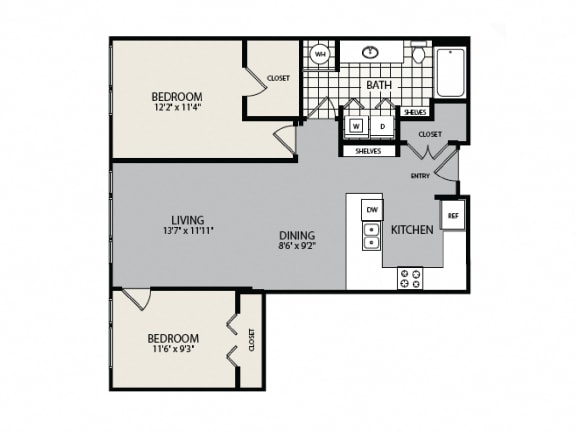 Floor Plan  1B Floor Plan - 2 BR 2 BA Apartment - 2828 Zuni - Denver