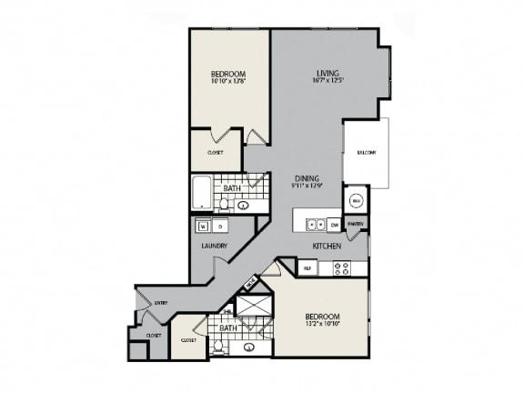 Floor Plan  B2 Floor Plan - 2 BR 2 BA Apartment - 2828 Zuni - LoHi