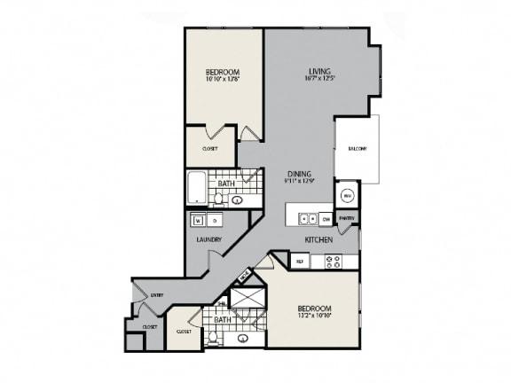 Floor Plan  B1 Floor Plan - 2 BR 2 BA Apartment - 2828 Zuni - LoHi