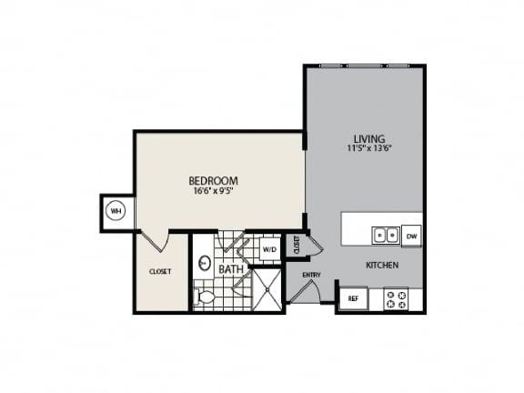 Floor Plan  S1 Studio Apartment Floor Plan - 2828 Zuni - LoHi Denver