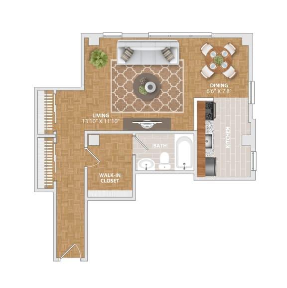 The Vernon floorplan at Bridgeyard Old Town