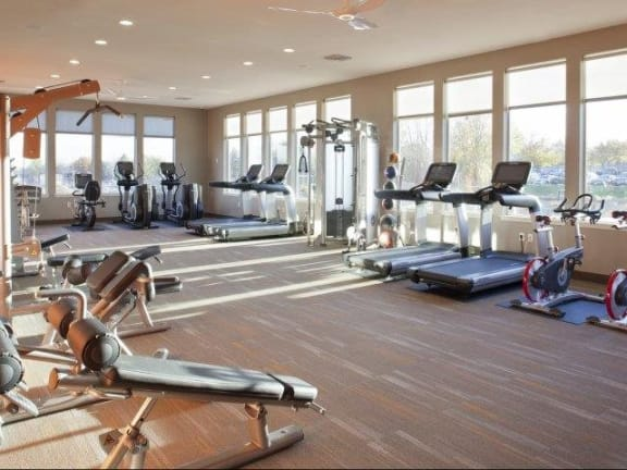 Fitness Room North Main at Steel Ranch l Apartment Rentals in Louisville CO