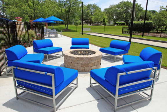 Outdoor Grilling Area and Firepit at The Clayson, Palatine, Illinois