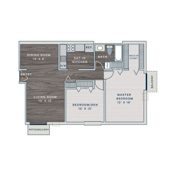 Floor Plan  2 Bed 1 Bath B1 Floor Plan at The Clayson, Palatine, IL, 60067