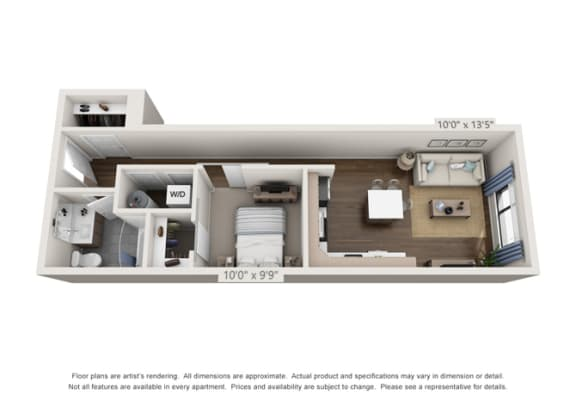 Floor Plan  one bedroom apartment layout in denver