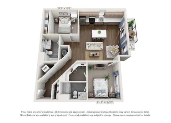 Floor Plan  modern two bedroom apartments in denver colorado