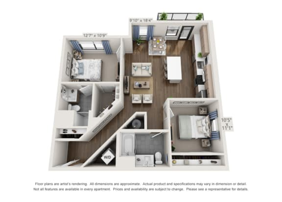 Floor Plan  corner unit of luxury apartment units in denver colorado