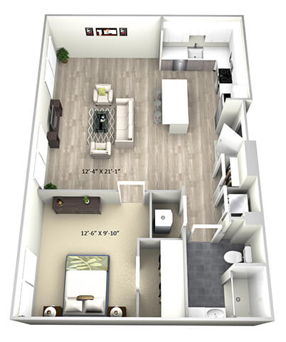 1 Bed 1 Bath TruaE Floor Plan at 735 Truman, Hyde Park, MA, 02136