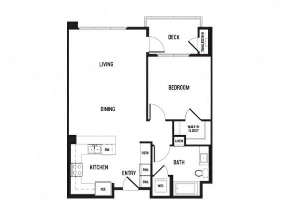 Floor Plan  One bedroom One bathroom 2