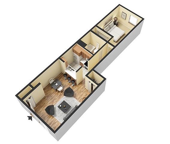 Floor Plan  1 Bedroom 1 Bathroom 3D Floor Plan