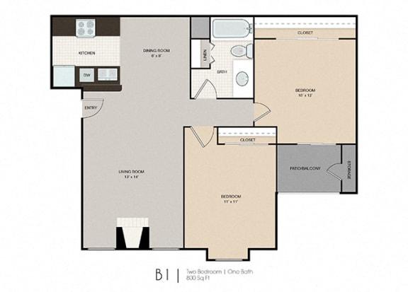 Floor Plan  Park Place|B1 2x1 800 sf