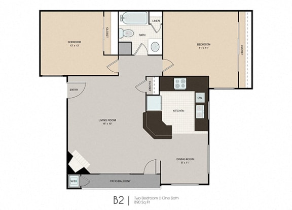 Floor Plan  Park Place|B2 2x1 890 sf