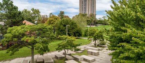 beautiful lush grounds surround the village of hyde park
