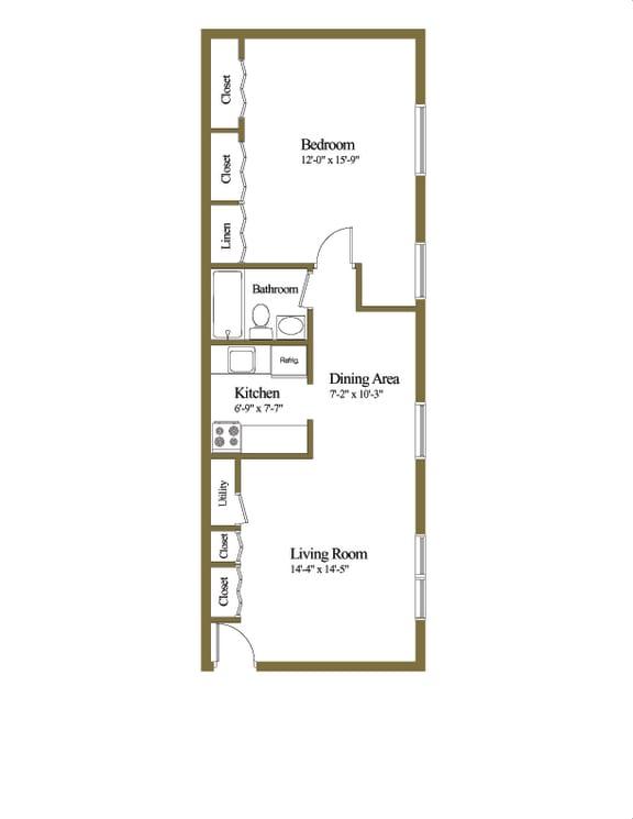 Deluxe  Studio 1 bedroom 1 bathroom floor plan at Hyde Park Apartments in Essex, MD