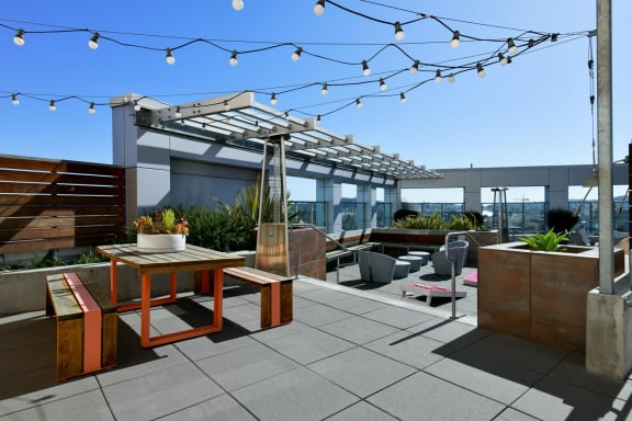 Rooftop Terrace Seating at Venn On Market, San Francisco, CA, 94102