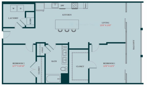B1 - 2 Bedrooms 2 Baths Apartment Floor Plan Design - 1161 sq. ft. - Apartments in Des Plaines