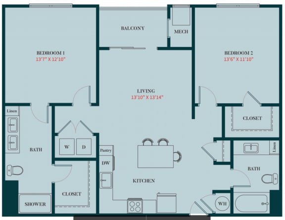 B2 - 2 Bedrooms 2 Baths Apartment Floor Plan Design - 1161 sq. ft. - Apartments in Des Plaines