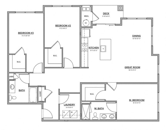 The Preserve at Great Pond Three Bedroom Apartment Home - P