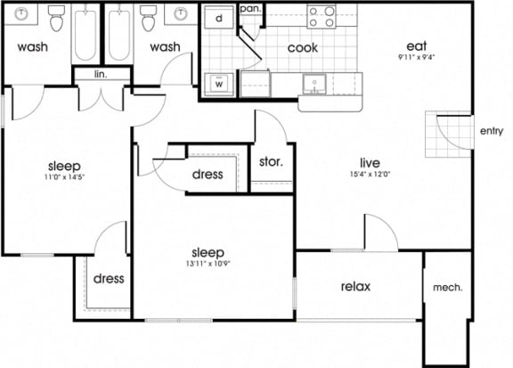 Floor Plan  B2 Floorplan for Whispering Oaks Apartment homes in Portsmouth, VA