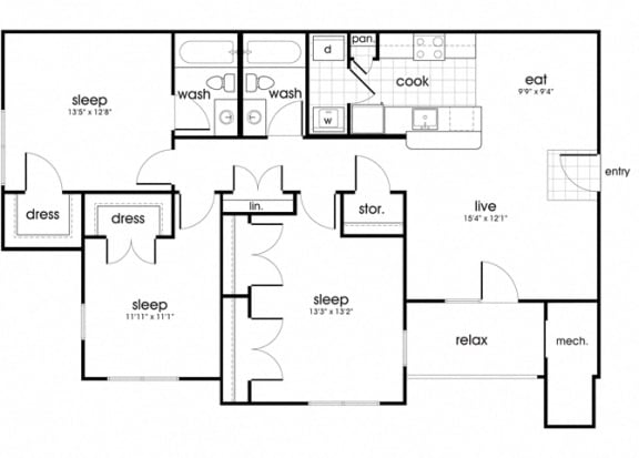 Floor Plan  C1 Floorplan for Whispering Oaks apartment homes in Portsmouth, VA