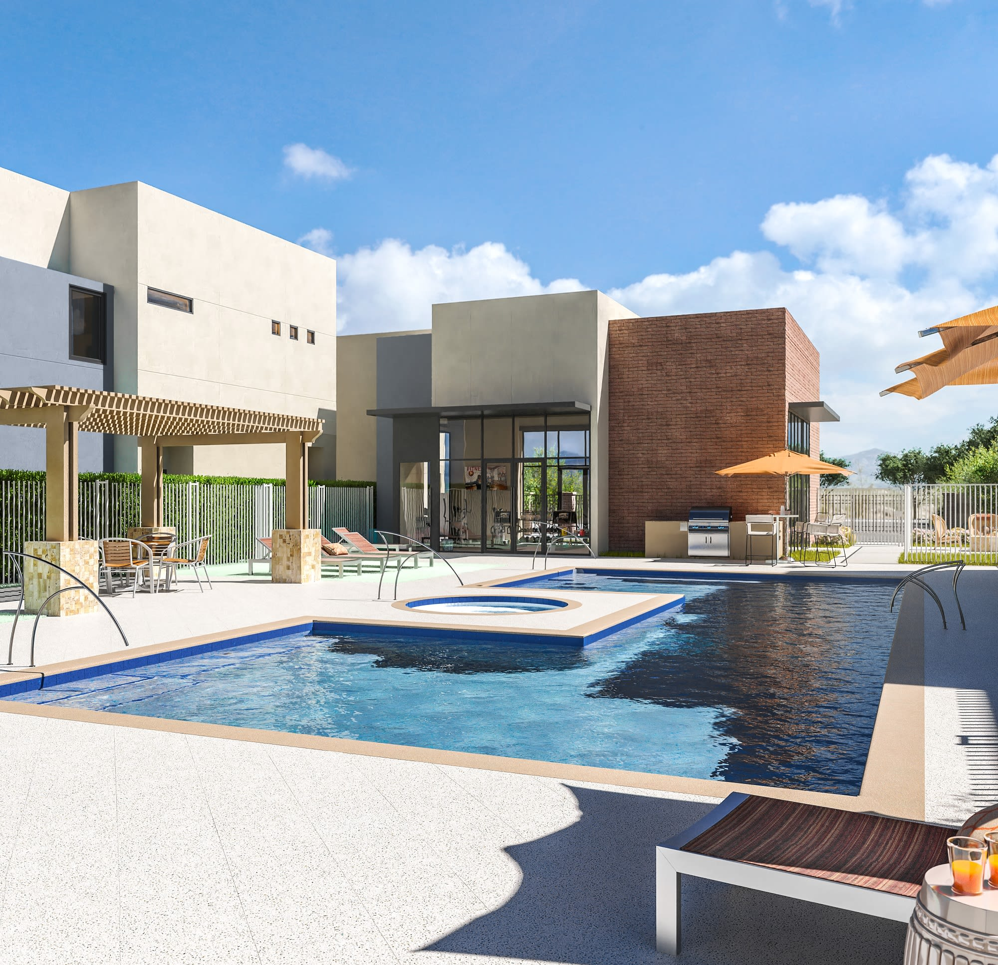 poolside with view of fitness center